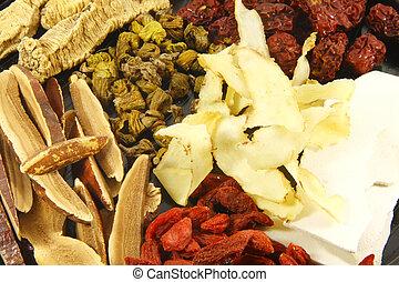 herbário, sopa, chinês, ingredientes