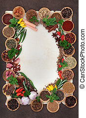 Herb and Spice Abstract Border