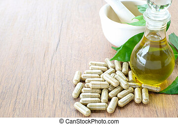 Herb capsule, Nutritional Supplement, Vitamin Pill, Herbal Medicine. Space for your message.