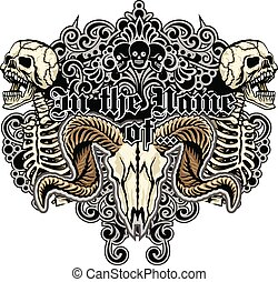 herb, czaszka, marynarka, grunge