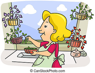 Illustration of a Woman Picking Herbs from Her Garden