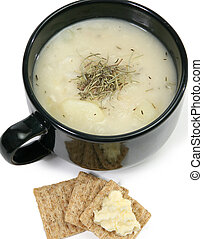 Herb Potato Soup and Crackers