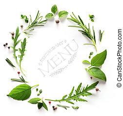herb;, restaurant, cuisine, fond, menu;, art, assaisonnement