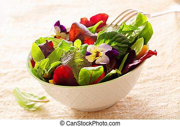 Herb salad with nasturtium flowers - Fresh healthy leafy ...