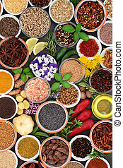 Herb Spice and Edible Flower Selection