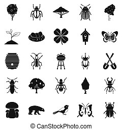 Herbaceous icons set, simple style