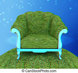 Herbal armchair. 3D illustration. Anaglyph. View with red/cyan glasses to see in 3D.