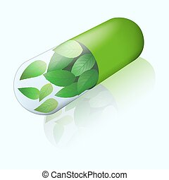 Herbal capsule with flying mint leaves inside. Isometric view with mirror shadow. Green pill. Alternative medicine icon.
