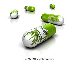 green herbal pills over a white background