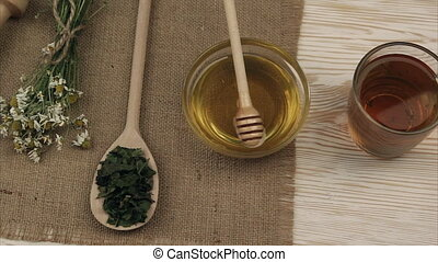 Herbal dried tea with honey