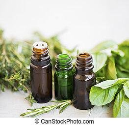 Herbal essential oils bottles