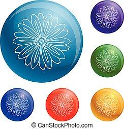 Herbal flower icons set vector
