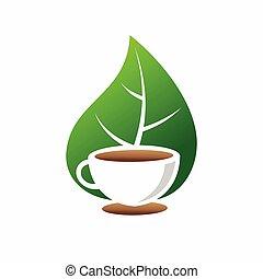 Herbal green tea cup leaves logo