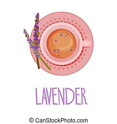 Herbal Lavender Tea View From Above Vector Illustration