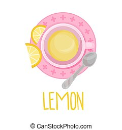 Herbal Lemon Tea View From Above Vector Illustration