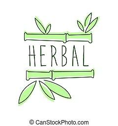 herbal, logo, symbol, vektor, illustration