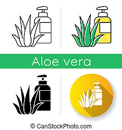 Herbal lotion icon. Plant based cream. Natural gel. Organic bathing product. Cosmetology and dermatology. Aloe vera extract. Linear black and RGB color styles. Isolated vector illustrations