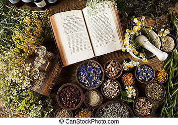 Herbal medicine and book on wooden table background -...