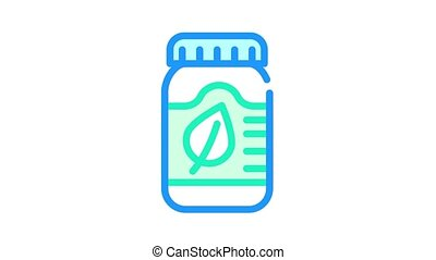 herbal medicine bottle animated color icon. herbal medicine bottle sign. isolated on white background