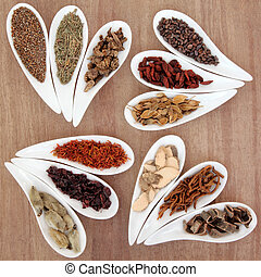 Chinese herbal medicine selection in white porcelain dishes over papyrus background.