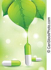 Herbal Medicine - illustration of herbal medicine formed by...