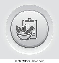 Herbal Medicine Flat Icon Design. Clipboadr with Mortar Pestle. Medical Services