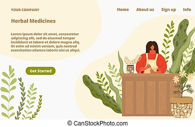 Herbal medicine from natural plants landing page vector illustration. Alternative complementary medicine from herbs, homeopathy therapy. Naturopathic medical ingredients web store.
