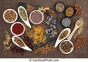 Herbal medicine selection also used in witches magical potions over brown lokta paper background.