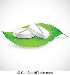 Herbal Medicine - illustration of medicine on leaf showing...