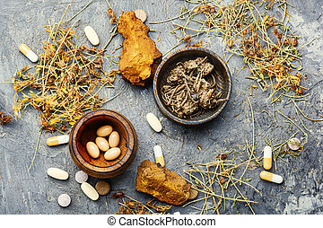 Herbal medicine in pill - Herbal pills with healthy medical ...