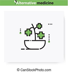 Herbal medicine line icon. Healing plant. Naturopathic, herbal treatment. Health care and wellness. Complementary and alternative medicine types. Isolated vector illustration. Editable stroke