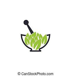 Herbal medicine logo template vector icon illustration