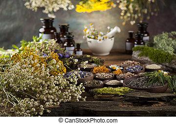 Herbal medicine on wooden desk background - Fresh medicinal...