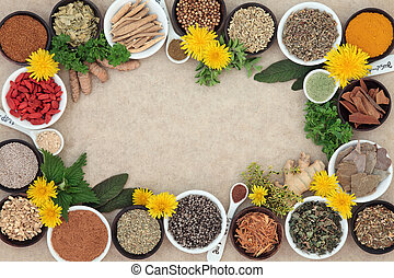 Herbal Medicine - Herbal medicine selection with fresh and...