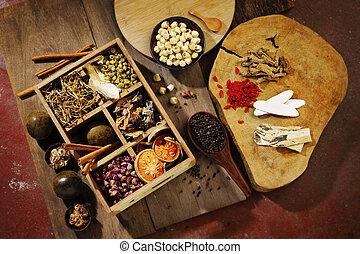 herbal medicine - Chinese herbal medicine and flower tea on...