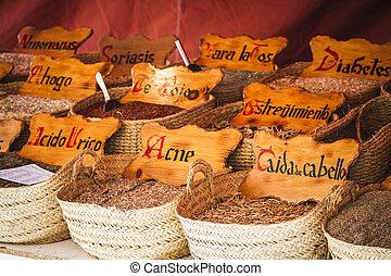 Herbal medicine, street vendor of medicinal herbs, wellness,...