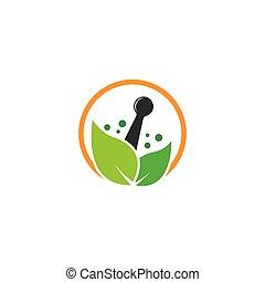 Herbal medicine symbol vector icon illustration