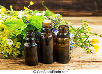 Herbal medicine with plants extracts and essence bottles