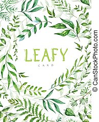 Herbal mix vector frame. Hand painted plants, branches and leaves on white background. Natural card design.