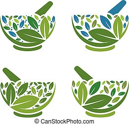 Herbal Mortar and pestle logo - simple concept of Herbal...
