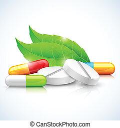 illustration of natural medicine with leaf showing herbal concept