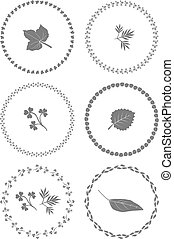 Herbal ornament frames. Set of vector graphic elements for design