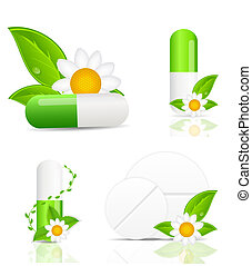 herbal, p-pille, icon.environment, baggrund, vektor, illustration