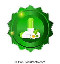Herbal pill Environment background vector illustration