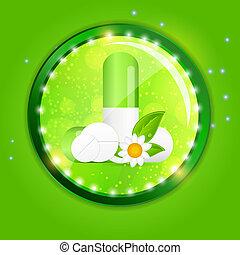 Herbal pill Environment background vector illustration