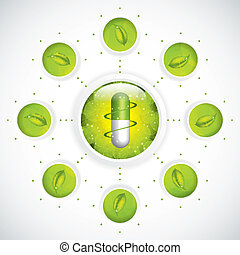 Herbal pill - Green alternative medication concept - Medical...