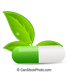 Herbal pill icon. Environment background vector illustration