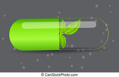 Herbal pill icon.Environment background vector illustration