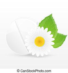 Herbal pill. Vector illustration.