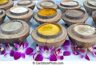 Herbal powder for Spa in coconut sh